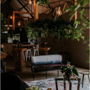hanging decor, hanging greenery, naked bulbs, wedding furniture - The Grand Botanist