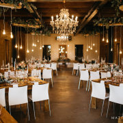 chandeliers, hanging decor, naked bulbs, winter wedding - 401 Rozendal