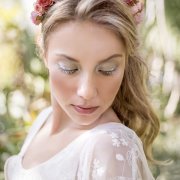 flower crown, makeup, roses