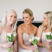 bridesmaid dress, bouquet, white tulips