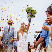 bride and groom, bride and groom, confetti, wedding dreses - Christelle Rall Photography