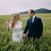 bride and groom, bride and groom, field, suits, wedding dresses, wedding dresses