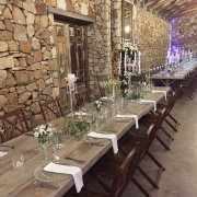 table decor with candles, long tables - Florence Guest Farm
