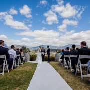 mountain view, outdoor ceremony - Roca on Dieu Donne Wine Estate