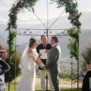 floral arch, outdoor ceremony - Roca on Dieu Donne Wine Estate
