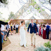 bride and groom, bride and groom, confetti, outdoor ceremony, petals - Rosemary Hill