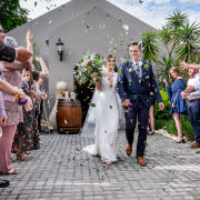 bride and groom, bride and groom, confetti - Running Waters