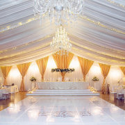 chandelier, draping, wedding decor - Running Waters