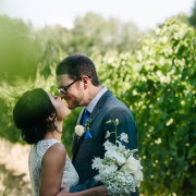 bouquet, hair, suit - The Mosaic Wedding Company