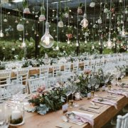hanging decor, naked bulbs - The Mosaic Wedding Company