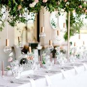 floral decor, hanging decor, naked bulbs - Webersburg