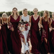 bride and bridesmaids, gowns by rene h - Rene H Couture