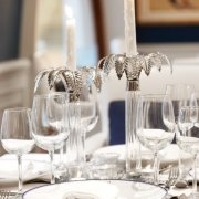 candles, glassware, table setting