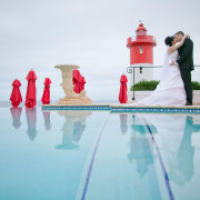 light house, suit, swimming pool, wedding dress