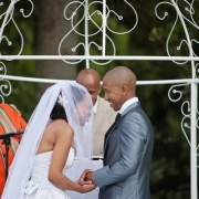 bride and groom, outside ceremony