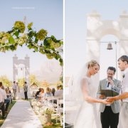 aisle, arch, bride and groom
