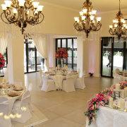 chandeliers, floral centrepieces - Chez Charlene