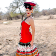 african, makeup, red, wedding dress - Louise Meyer Photographers