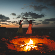 beach, bride, bridesmaid, fire