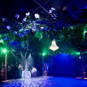 chandeliers, hanging florals, hanging greenery, mood lighting - Petals Group