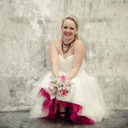 bouquet, pink, wedding dress