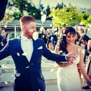 bride and groom, bride and groom, confetti - ZED MENSWEAR