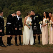 bridal party, kilts, kiss, kiss, kiss, wedding party - Leopard Lodge