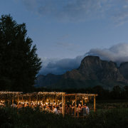 hanging decor, hanging lights, outdoor reception - Boschendal