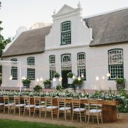 fairy lights, hanging decor, hanging lights, naked bulbs, outdoor reception - Boschendal
