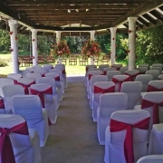 aisle, chair covers, flowers
