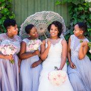 bride and bridesmaids, parasol