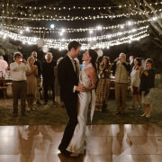 bride and groom, bride and groom, fairy lights, first dance, outdoor reception - Hawksmoor House
