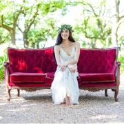 headpiece, seating, wedding dress - Goeters