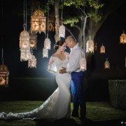 bride and groom, bride and groom, hanging decor, hanging lights - Unveil Elegance Events