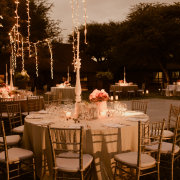 fairy lights, outdoor reception, table decor with candles - Otto de Jager Events