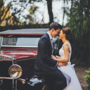 bride and groom, vintage car