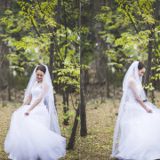 forest, veil, wedding dress
