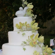 3 tier cake, floral accents, green, three tier cake, white