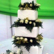 4 tier cake, floral accents, four tier cake, roses, white