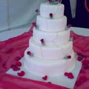 5 tier cake, five tier cake, pink, roses, white