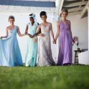 bridesmaid dress, hair styles, headpiece - Infinity Dress South Africa