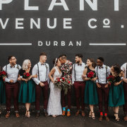bridal party, bride and groom, bride and groom, kiss, kiss, wedding party - The Plant Venue Co.