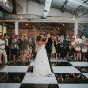 bride and groom, bride and groom, confetti, first dance, kiss, kiss - The Plant Venue Co.