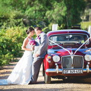 bouquet, bride and groom, vintage car