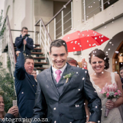 bouquet, confetti, suit, umbrella