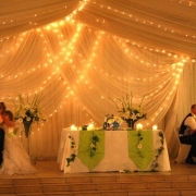 draping, fairy lights