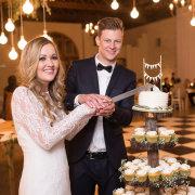 bride and groom, cake, lighting - Happy Tree Designs