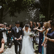 bride and groom, bride and groom, confetti, wedding confetti - Le Franschhoek Hotel & Spa