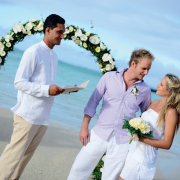 beach, bride and groom, ceremony