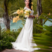 bouquet, bride, dress, swimming pool